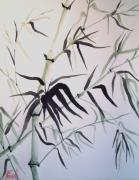 tableau fleurs art aquarelle japon moderne : Bambous