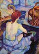 tableau personnages art aquarelle femme moderne : danseuse lautrec