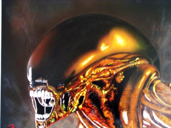 TABLEAU PEINTURE art aérographe acrylique moderne Personnages  - Alien