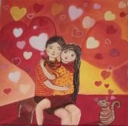 tableau personnages toile enfance tendresse souvenirs coeurs et chat rouge : Les coeurs tendres