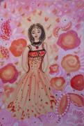 dessin personnages introspection temps fille fleurs ,a encadrer sur canson de couleu : Joyeuse introspection