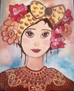 tableau personnages petit visage d gros nœud dans les ,c regard tendre portr petite fille toile : Irina au nœud Jaune