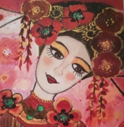 tableau personnages toile portrait rouge shangai naif romantique : La poupée de Shangaï