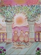 tableau animaux toile chats tableau coucher de s univers naif chats naifs : Poésie du couchant