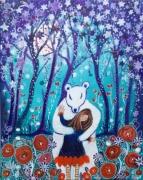 tableau personnages toile feerique toile enfant petite fille ours : Pour toujours