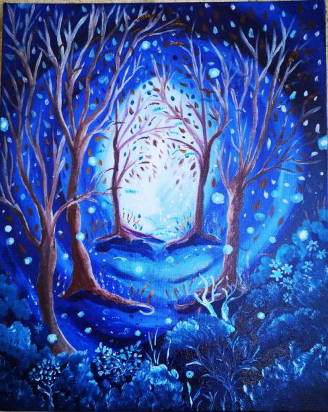 TABLEAU PEINTURE tableau féérique toile féérique songe rêve bleu Paysages Acrylique  - Dream in blue VENDU