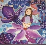 tableau personnages toile pour enfant toile feerique pour toile jardin imagina tableau mauve : la magie des fleurs