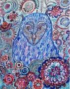 tableau animaux chouette jardin art naif oiseau : Un jardin pour elle