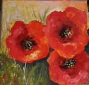 tableau fleurs toile acrylique l peinture acrylique fleurs rouges pass tableau 20 x 20 : coquelicots
