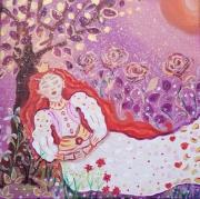 tableau personnages petite princesse fleurs paysage couronne d or toile pour enfant ,p : Les senteurs