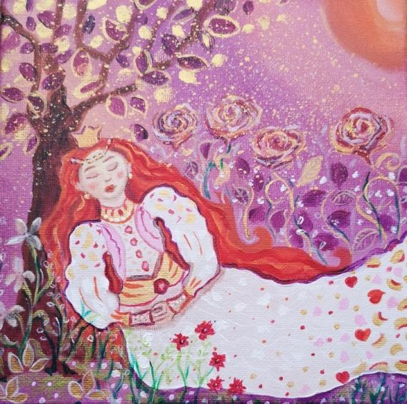 TABLEAU PEINTURE petite princesse fleurs, paysage, couronne d'or, toile pour enfant, p Personnages Acrylique  - Les senteurs