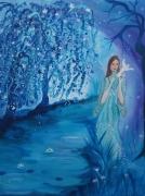 tableau personnages univers feerique toile poetique tableau bleu acrylique : La dame du Lac