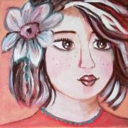 tableau personnages visage feminin porrtrait petite fi toile enfant tableau 20 x 20 : BABOU
