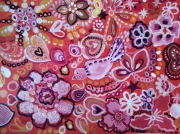 tableau animaux jardin d amour jardin oiseau bo canson encadre orange rose beig : Jardin d'Amour