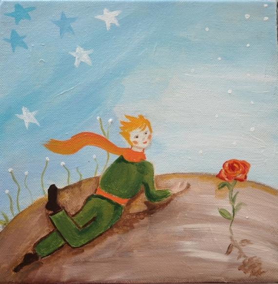 TABLEAU PEINTURE toile enfant porsonnage et fleur toile onirique et po marron et bleu Personnages Acrylique  - Bonjour Rose