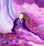 tableau personnages fee feerie toile tableau pour enfant tableu feerique fee et baisers : Les baisers d'une fée