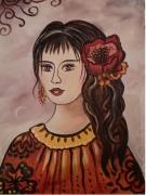 tableau personnages visage andalouse portrait espagne : Carmen