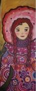tableau personnages portrait toile visage folka portrait feminin toile vernie prete : Capucine en hiver
