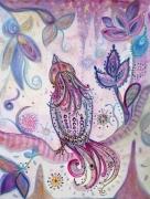 tableau animaux aquarelle oiseau art naif encadree : L' enchanteur