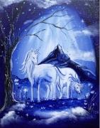 tableau animaux licornes univers feerique toile feerique tableau enfant : L'apparition