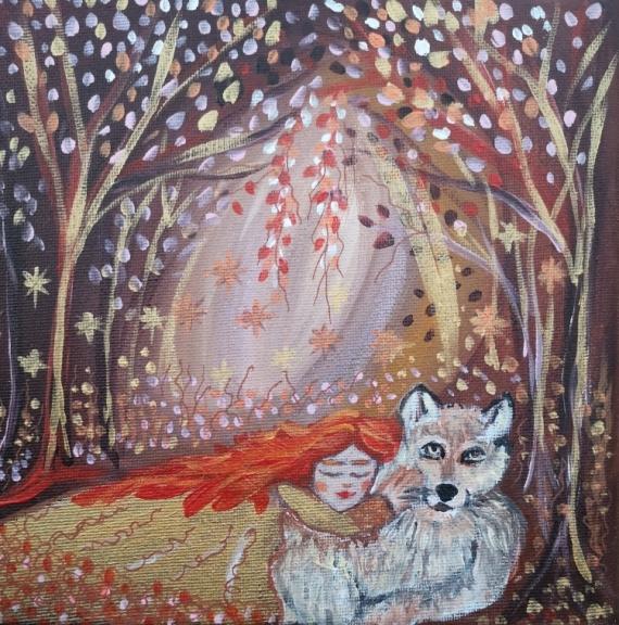 TABLEAU PEINTURE tableau féérique onirique marron l'enfant et lou Personnages Acrylique  - Clothide et le loup