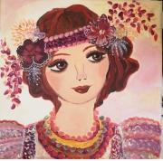 tableau personnages visage romantique petite toile portrai portrait feminin tableau visage : romance shaby