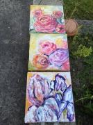 tableau fleurs triptyque toiles fleurs 3 tableaux : tryptique