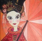 tableau personnages petite chinoise omb parures de cheveux grands yeux folkart naif naif romantiqu : Ting-Ting et l'ombrelle
