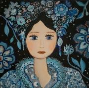 tableau personnages portrait matriochka toile noire et bleue portrait visage toile : Matriochka