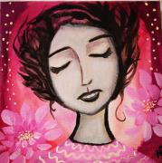 tableau personnages toile visage rose nenuphars : Gratitude