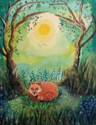 tableau animaux renard nature imag verte orange renard qui dort boi arbre fleurs feui : Un bonheur simple