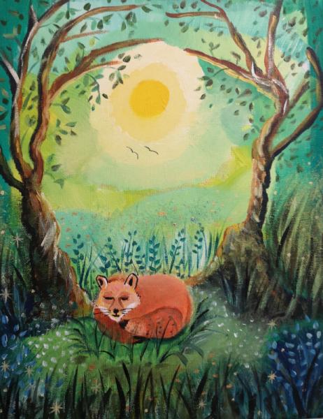 TABLEAU PEINTURE renard, nature, imag verte, orange, renard qui dort, boi arbre , fleurs, feui Animaux Acrylique  - Un bonheur simple
