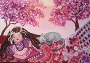 tableau personnages petite princesse et paix serenite toile personnages : Les siestes avec Pompon