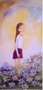 tableau personnages champs fleurs petite fille art naif : Le parfum des fleurs