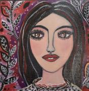 tableau personnages visage naif romanti noir rouge blanc portrait feminin vi vegetal feuilles : Léna