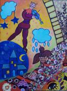 tableau animaux univers de chagall encre acrylique ca chat musicien oisea inspiration marc cha : Mélodie pour l'oiseau