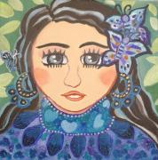 tableau personnages papillons portrait bleu vert : Butterfly