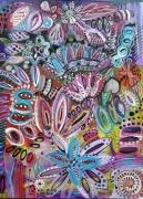 tableau fleurs fleurs abstraites acrylique jardin imaginaire fleurs : Danse dans les fleurs