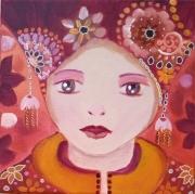 tableau personnages visage russe poupee russe visage enfant orange rouge : la p'tite Lili