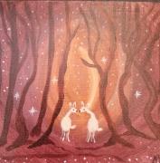 tableau animaux univers feerique ta monde imaginaire et enfantin magical wo toile acrylique et : Tendresse féérique