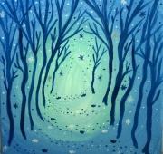 tableau paysages bois chemin feerique onirique : Au bout du chemin