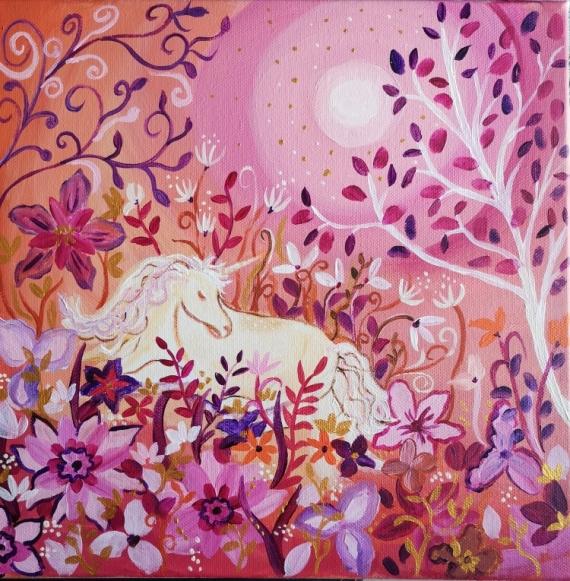 TABLEAU PEINTURE jardin , licorne toile féérique univers onirique toile pour enfant Animaux Acrylique  - Douce Lune VENDU