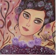 tableau toile regard jeune fille reveuse portrait visage tableau feminin : Emilie Rêve VENDU