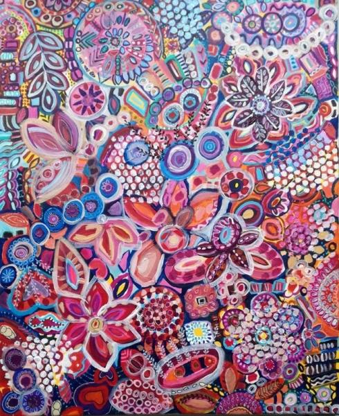 PAINTING art abstrait fleurs abstraites art déco acrylique, toile Fleurs Acrylique  - Graffiti Flowers