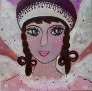 tableau personnages ange visage portrait chambre enfant : Comme un ange