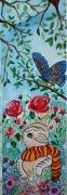 tableau animaux un chat et un papill folk art fleurs et animaux toile acrylique : le chaton et le papillon