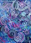 tableau fleurs fleurs acrylique jardin nocturne joyeux : Réveil Nocturne