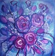 tableau fleurs toile fleurs bouquet bleumauve : Des fleurs pour elle