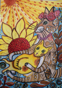 dessin animaux chats calins maman et chaton dessin : Câlins d'été