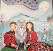 tableau personnages toile pour enfant enfants et loup acrylique imaginaire : Les enfants de Sibérie